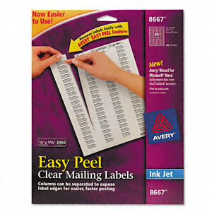 avery dennison ave 8667 easy peel mailing label 0 5 width x 1 75