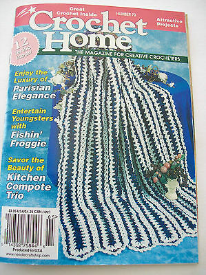 1999 Crochet Home Pattern Book #70 Afghan Pot Holder Blankie Bear Fishing Frog