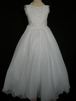 New Girl Glitz National Pageant Wedding Party Formal Dress size: 12,14 White