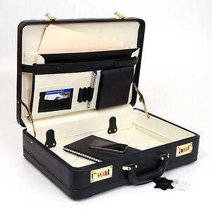 Classic-Leather-Attache-Case-Briefcase-Hard-Side-w-Portfolio-Combination-Locks