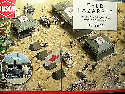 HO Busch 9605 1:87 scale FIELD HOSPITAL KIT w/ Tents Sandbags :Use w/ MiniTanks