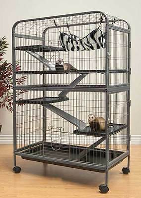 LIVING ROOM SERIES LARGE TOP QUALITY 5 LEVEL FERRET INDOOR HUTCH CAGE CHINCHILLA