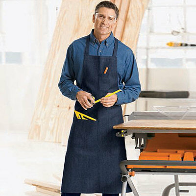 4 pack commercial grade navy blue denim apron with 1 pen and hand pocket