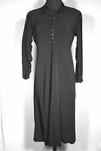 RARE-FRENCH-VINTAGE-1920S-1930S-BLACK-RAYON-DRESS-SIZE-6-8