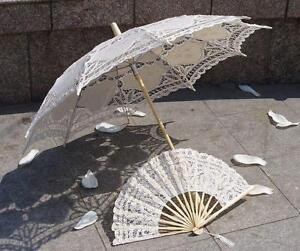 Battenburg-Ivory-Belle-Parasol-Umbrella-30-inch-amp-Hand-Fan-Wedding-Bridal