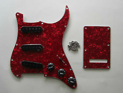 Red Pearl Strat Pickguard,Back Plate with Black Pickup Covers,Knobs,Switch Tip!