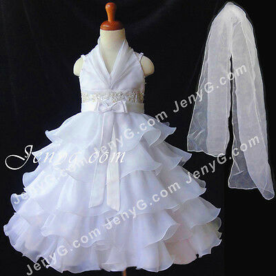 #SB51 Flower Girl/Pageant/Communions/Formal Gowns Dresses, White 2-10 Years
