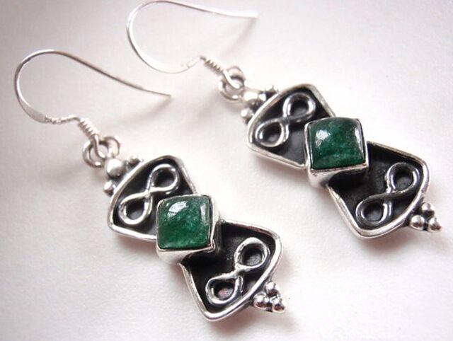 Malachite Double Infinity Symbol Infinite Love 925 Sterling Silver Drop Earrings