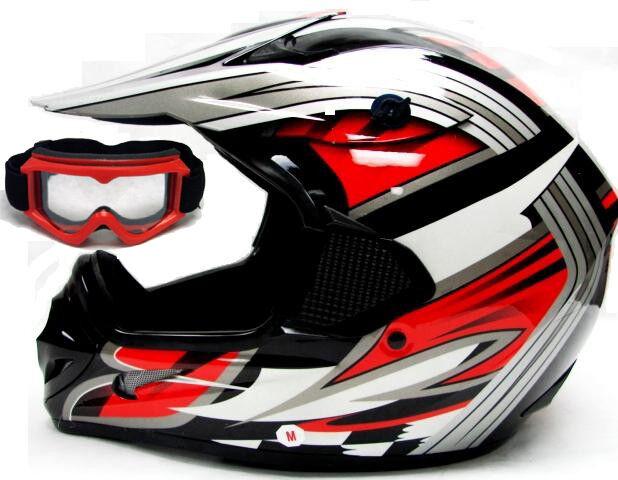 TMS Adult Red Black Dirt Bike Motocross Off-Road Helmet w/Goggles~S M L XL XXL