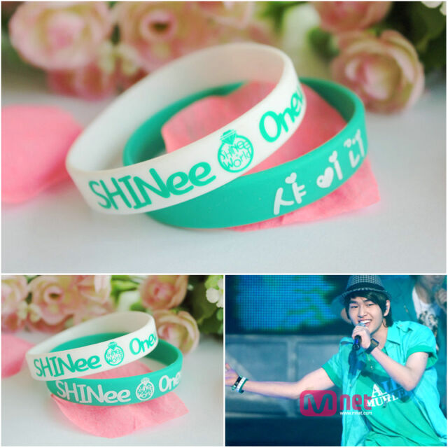 2X Shinee Jelly bands ONew Silk printed silicone bracelet K-POP Wristbands