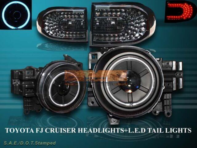 07-14 Toyota FJ Cruiser Projector Headlights Halo CCFL Black LED Tail Lights Smk