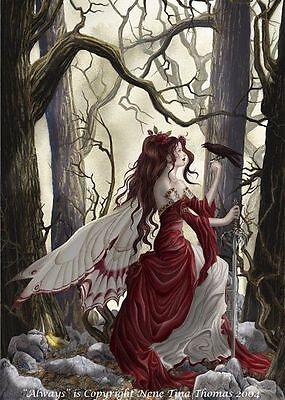 "Nene Thomas Print 5""x7"" Always Fairy Faery Crow Raven Red Dress Fantasy Art"