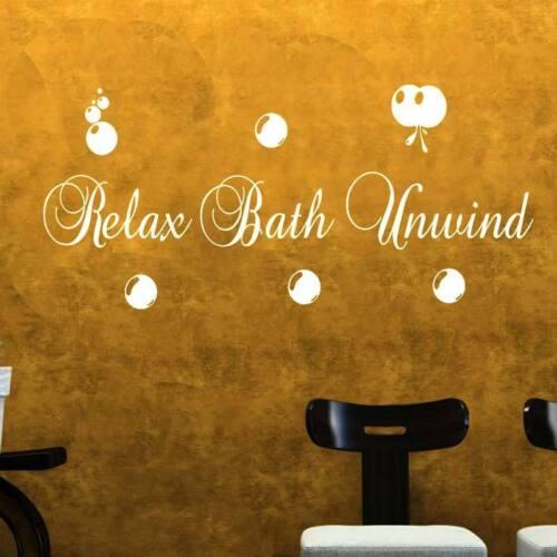 Relax de Bain Unwind Autocollant Mural Citation Art S6 Autocollant Vinyle Décoration Salle de Bain