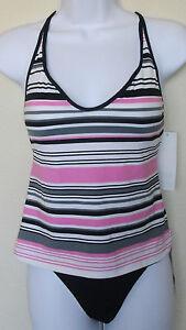 NWT-Genuine-JAG-black-pink-white-striped-top-bikini-bottom-2pc-swimsuit-set-S