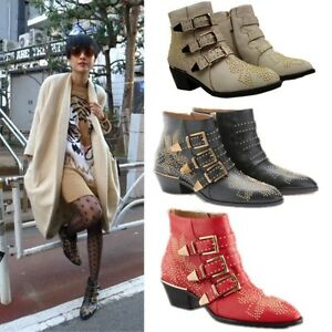 Womens-Real-Leather-Punk-Studded-Buckle-Low-Heel-Rocker-Cowboy-Ankle-Boots-Shoes