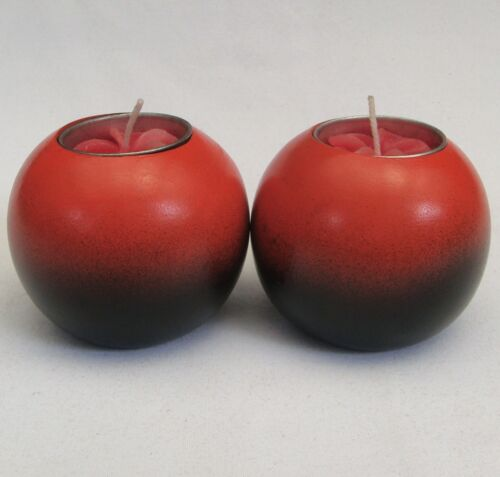 Wooden Candle Holders Bold Colour Two Toned Pair Orange from Thailand