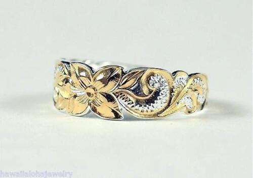 6mm 2-Tone Sterling Silver 14k Gold Plated Hawaiian Princess Scrolls Toe Ring