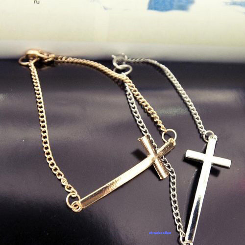 Vintage Goth Punk Rock Horizontal Cross Bracelet Chain Wristband Crosses Charm