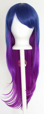 28'' Long Straight Layered Fade Blue to Purple Cosplay Wig