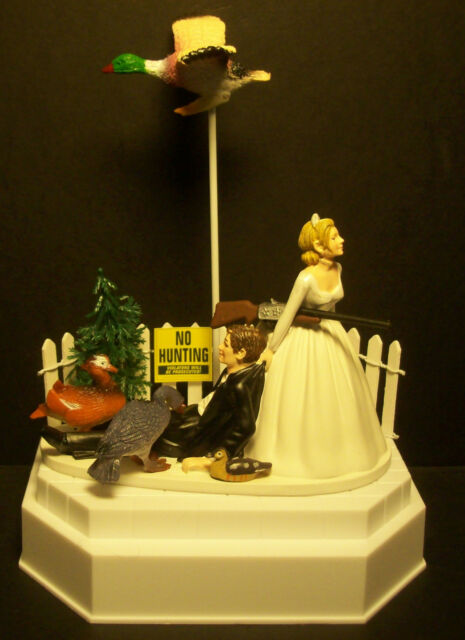 NO HUNTING DUCK BRIDE AND GROOM WEDDING CAKE TOPPER Funny Grooms Cake Humor