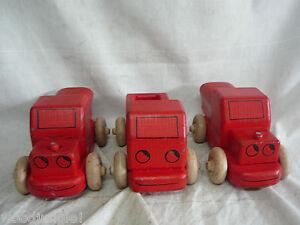 3 RED WOODEN TOY TRUCKS WOOD Vintage MID CENTURY MODERN CAR DUMP