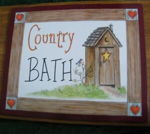 9x11 034 Country Bath Primitive Outhouse Bath Bathroom Wall Art Decor