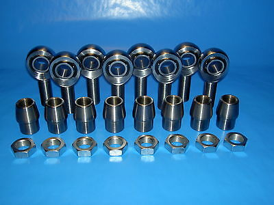 """8 qty 3/4"""" Thread with 3/4"""" Bore Chromoly Rod End Kit, Heims (Bung 1-1/2 x.250)"""