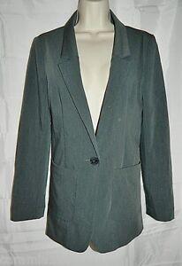 H-amp-M-Blazer-Stretch-Button-Front-Gray-Jacket-size-8