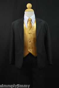 S1 BOY Formal Party Black Tuxedo Suit Gold Vest & Tie 1 2 3 4 5 6 ...