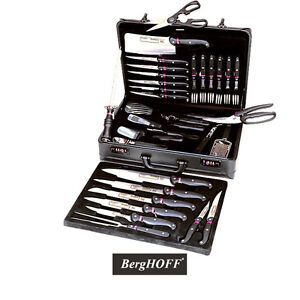 berghoff knife set with travel case 32 pieces cutlery kitchen chef knives ebay. Black Bedroom Furniture Sets. Home Design Ideas