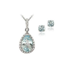 925-Silver-4-3ct-Blue-Topaz-amp-Diamond-Teardrop-Necklace-amp-Earrings-Set