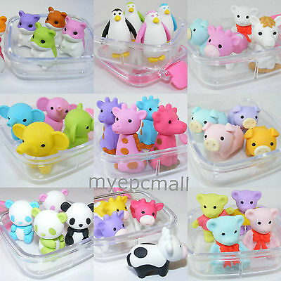 Iwako Japanese 4 Pieces of Animal Eraser in a Clear Bento Square Box
