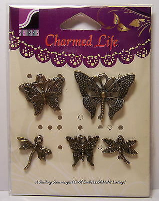 Charmed Life Butterfly Dragonfly Charm Assortment 5 New Antique Brass Accents