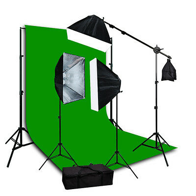 Lusana Studio Photography Green Muslin Backdrop Lighting Boom Stand Kit JSC115
