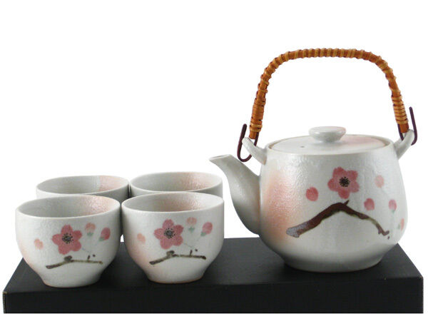 5 PCS. Japanese Tea Pot & Cups Set Shino Pink Ume Plum Blossom, Made in Japan
