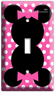 MINNIE-MOUSE-PINK-POLKA-DOTS-SINGLE-LIGHT-SWITCH-WALL-PLATE-COVER-GIRLS-ROOM-ART