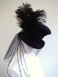 Ladies-Black-Hat-Mad-Hatter-Black-lace-Bustle-Tails-Black-Ostrich-Feather