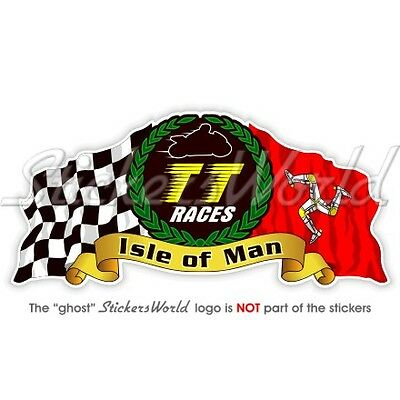 "ISLE of MAN TT Races MANX Moto GP Racing  Bike-Helmet Sticker Decal 100mm (4"")"