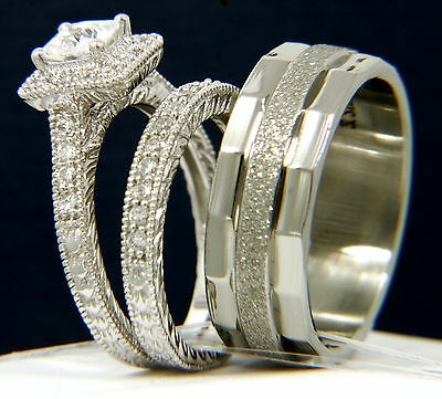 3pcs .925 Silver CZ Stainless Steel 316L Engagement Wedding Bridal Band Ring Set
