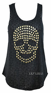 BN-women-gold-stud-skull-studs-print-graphic-motif-arm-hole-vest-top-t-shirt