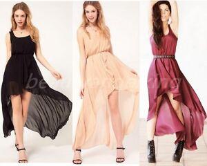 Women-New-Sexy-Sleeveless-Irregular-Chiffon-Skirt-Long-Dress-Black-3-Colors-Q1