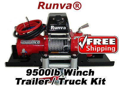9500lb New Runva Off-Road 12V Towing Recovery Electric Winch W/ Short Drum