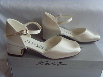 Ivory Satin Bridesmaids Flower Girls Shoes 7,8,9,10,11,12,13,1,2,3 ISABELLA L/H