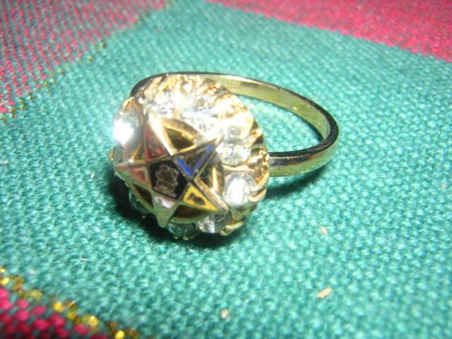 9 Rhinestones 10k GF Ladies ORDER EASTERN STAR 5 6 7 9 11 RING vintage >L@@K