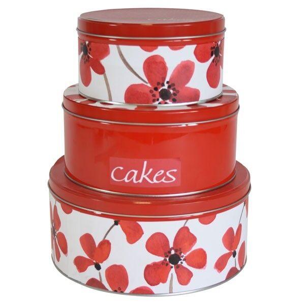 Set of Three Red Poppy Printed Cake Tins Storage New