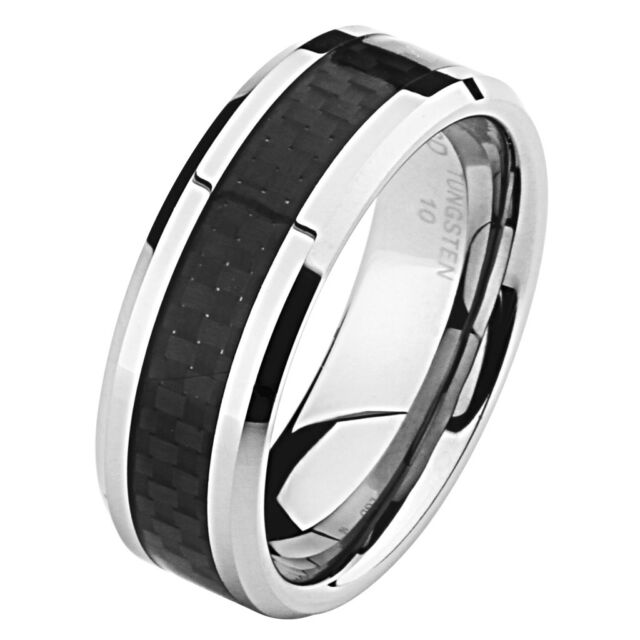 8mm Black Carbon Fiber Inlay Tungsten Carbide Comfort-fit Wedding Ring Band