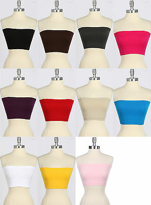 CROPPED TUBE TOP SOLID SPANDEX BADEAU ONE Size and VARIOUS Colors
