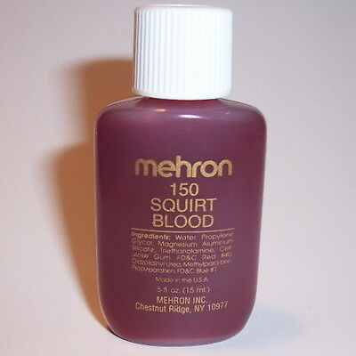 Squirt Blood Mehron FX MakeUp Costume Fake Vampire Stage Red Liquid Edible