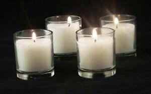 100-Glass-Tealight-Holder-8hr-White-Wax-Votive-Candle-Wedding-Table-Decoration
