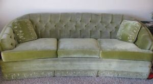 Throw Pillows For Sage Green Couch : Beautiful Vintage Sage Green Crushed Velvet Couch - Embroidery - 2 Throw Pillows eBay